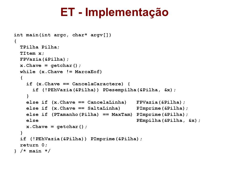 ET - Implementação int main(int argc, char* argv[]) { TPilha Pilha;